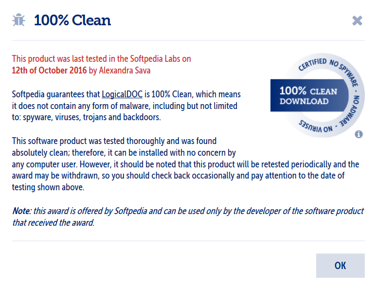 Softpedia inclusion 100% CLEAN